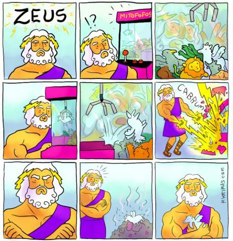 Zeus não sabe brincar!